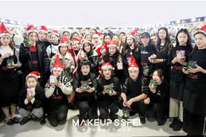 成都化妆学校奢妃化妆班和美容班一起参加圣诞节活动